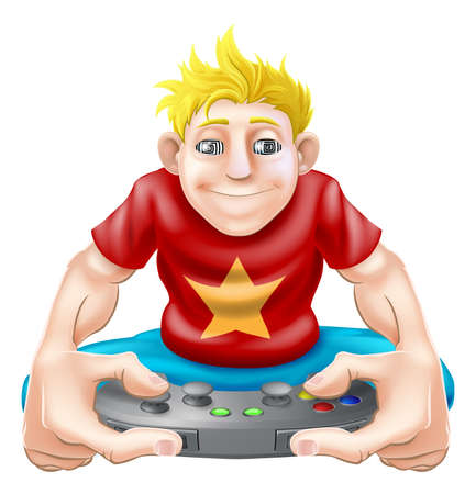 game pad: An illustration of a young gamer playing too much. Getting square eyes or hypnotised or being addicted to his games console Illustration