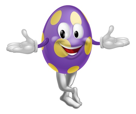 egg cartoon: An illustration of a happy fun cartoon Easter egg mascot character