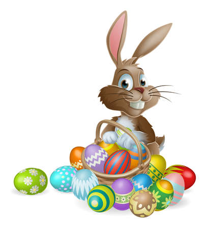 cartoon easter basket: Easter bunny rabbit with Easter basket full of decorated Easter eggs