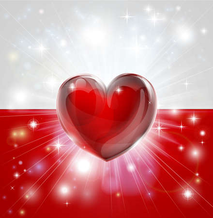 back ground: Flag of Poland patriotic background with pyrotechnic or light burst and love heart in the centre