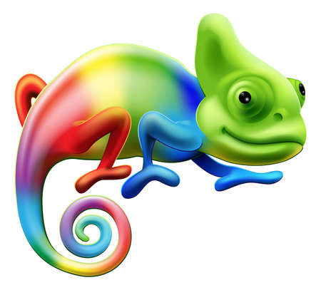 lizard: An illustration of a cartoon rainbow coloured chameleon