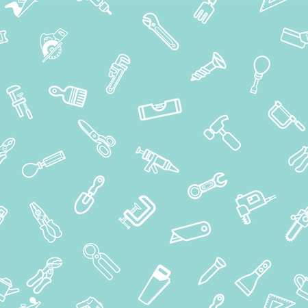 handyman tools: A repeatable background tile featuring lots of hardware and tool icons Illustration
