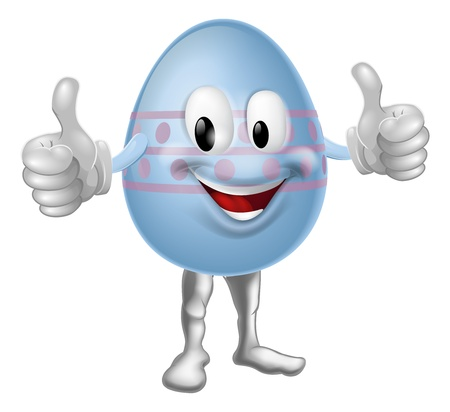 An illustration of a happy fun cartoon Easter egg mascot character doing a thumbs up Stock Vector - 17477064