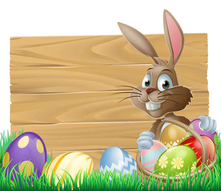 cartoon easter basket: The Easter bunny with a basket of Easter eggs with more Easter eggs around him by a wood sign board Illustration