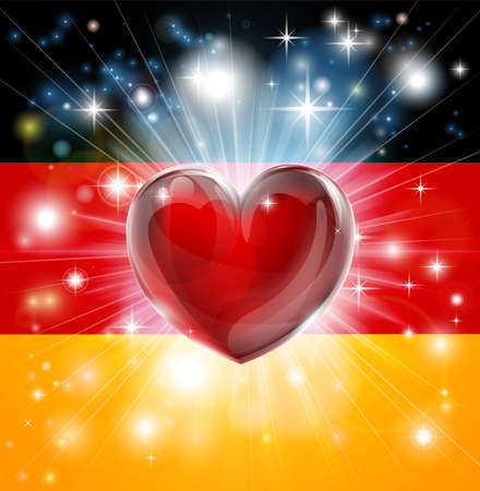 germany flag: Flag of Germany patriotic background with pyrotechnic or light burst and love heart in the centre