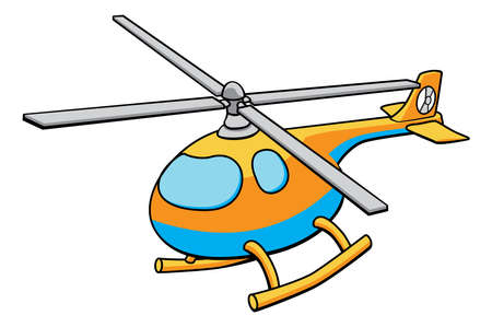 An illustration of an orange and blue cute childrens toy helicopter
