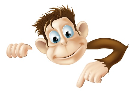 man holding sign: An illustration of a cute cartoon monkey peeking round from behind a sign and pointing or showing what it says Illustration