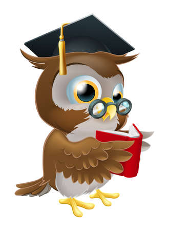 An illustration of a wise owl on a stack of books reading wearing glasses and a mortar board convocation hat. Illustration