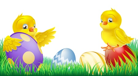 Two cute happy little yellow Easter chicks with colorful decorated Easter eggs Vector