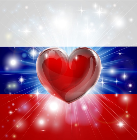 Flag of Russia patriotic background with pyrotechnic or light burst and love heart in the centre Vector