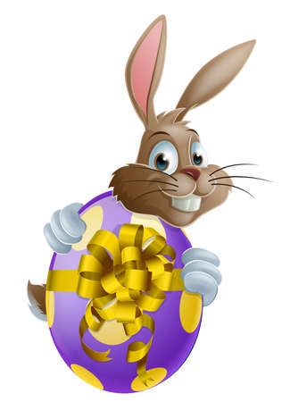 Cute Easter bunny cartoon character holding onto and peeking round a painted chocolate Easter egg Vector