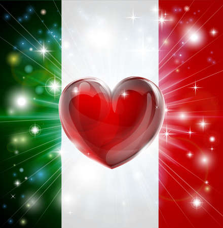 armed services: Flag of Italy patriotic background with pyrotechnic or light burst and love heart in the centre Illustration