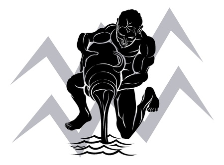 aquarius star: Illustration of Aquarius the water bearer or carrier zodiac horoscope astrology sign