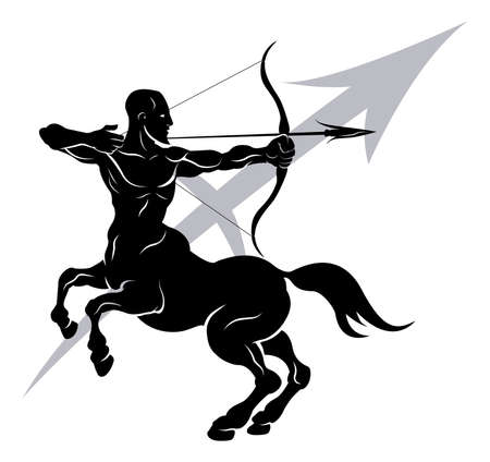 sagitario: Ilustración de Sagitario, el arquero centauro o del zodiaco signo astrológico horóscopo