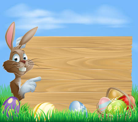 cartoon rabbit: Easter bunny with Easter Eggs and blank wooden sign for your text