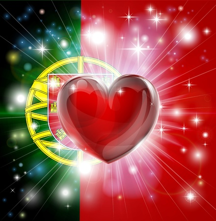 Flag of Portugal patriotic background with pyrotechnic or light burst and love heart in the centre Vector