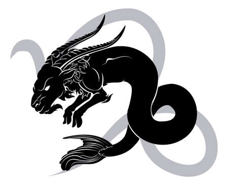 rams horns: Illustration of Capricorn the sea goat zodiac horoscope astrology sign Illustration
