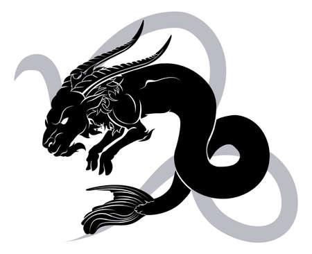 capricornio: Ilustración del Capricornio la cabra de mar zodiaco horóscopo signo astrológico Vectores