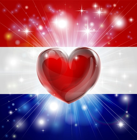 Flag of Netherlands patriotic background with pyrotechnic or light burst and love heart in the centre Vector