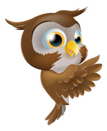 An illustration of a cute cartoon owl character peeking round from behind a sign and pointing or showing what it says