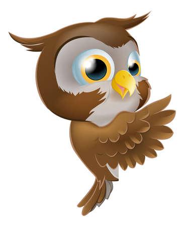 isolated owl: Una ilustraci�n de un personaje de dibujos animados lindo ronda b�ho asom�ndose desde detr�s de un cartel y se�alar o mostrar lo que dice