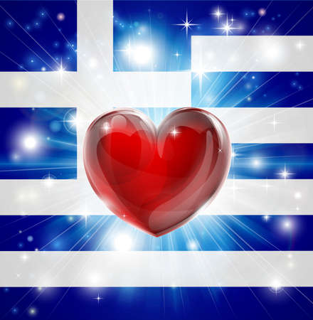 bright lights: Flag of Greece patriotic background with pyrotechnic or light burst and love heart in the centre