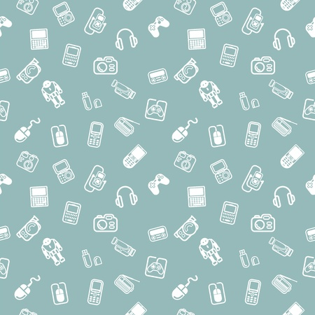 nav: A repeating seamless gadgets and technology background tile texture with lots of different tech and gadget icons
