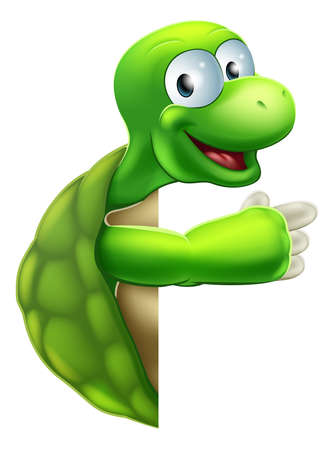 An illustration of a cute cartoon tortoise or turtle character peeking round a sign and pointing at it Vector