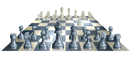 chess set: A complete set of chess pieces and board just after the start of a game with white having made the opening move Illustration