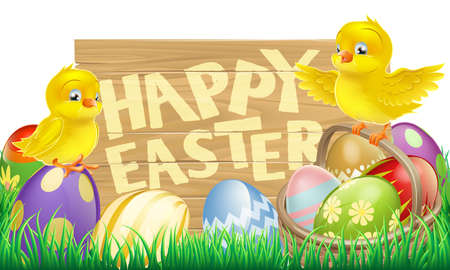 An Easter holiday sign that says Happy Easter with a basket full of Easter eggs and cute cartoon birds Vector