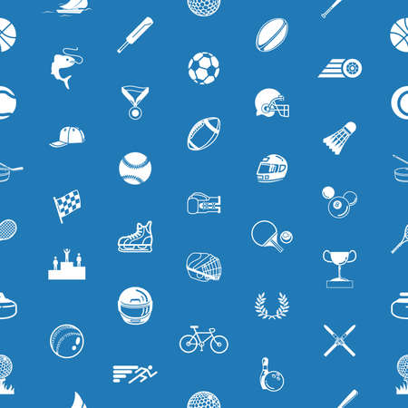 lots: A repeating seamless sport background tile texture with lots of drawings of different sports icons