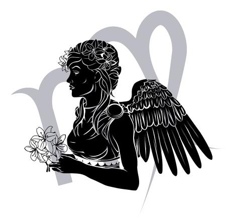 lily flowers set: Illustration of Virgo the virgin zodiac horoscope