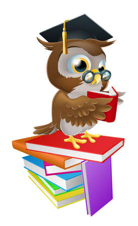 An illustration of a wise owl on a stack of books reading wearing spectacles and a mortar board graduate cap. Vector