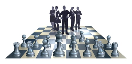 chessmen: Illustration of a chess business concept. A business team on one side of the chess board playing against chess pieces.