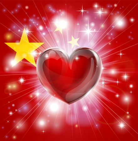 Flag of China pattic background with pyrotechnic or light burst and love heart in the centre Stock Vector - 17682857