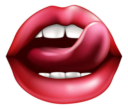 An illustration of a woman's mouth with tongue licking sexy red lips Vector