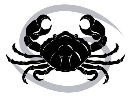 birth sign: Illustration of Cancer the crab zodiac horoscope