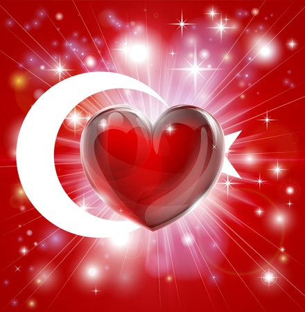 pyrotechnic: Flag of Turkey patriotic background with pyrotechnic or light burst and love heart in the centre