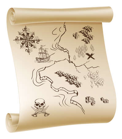 ancient map: An illustration of a pirate treasure map drawn on a paper scroll