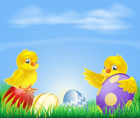 Cute cartoon happy little yellow Easter baby chickens with colorful decorated Easter eggs