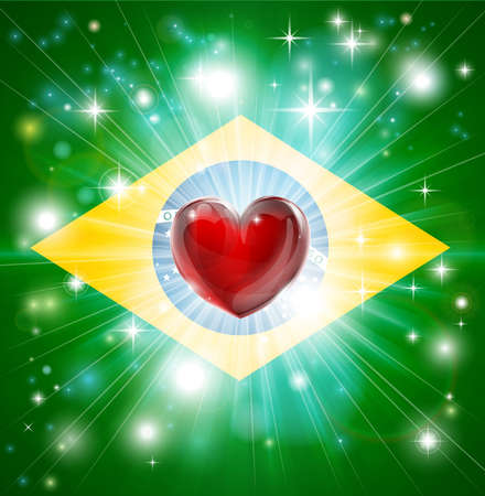 Flag of Brazil patriotic background with pyrotechnic or light burst and love heart in the centre Vector