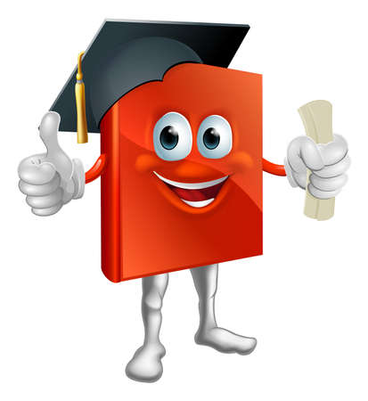 Cartoon graduation book education mascot giving thumbs up, wearing mortarboard hat and holding a diploma. Vector