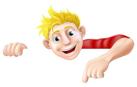 montrer du doigt: Une illustration d'un personnage cool jeune homme amical-dessus d'un signe ou une banni�re pointant