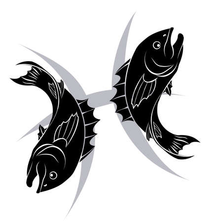 twelve: Illustration of Pisces the fish zodiac horoscope astrology sign
