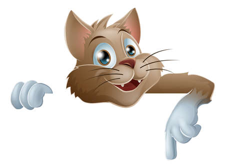 An illustration of a cute cartoon cat peeking round from behind a sign and pointing down or showing what it says Vector
