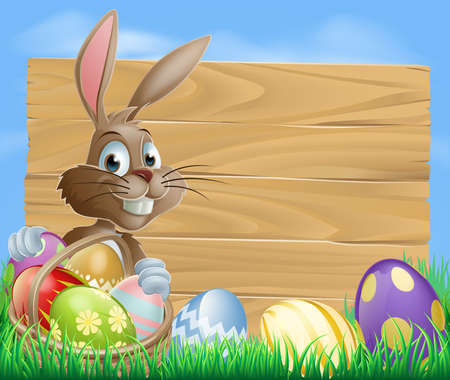 A cute Easter bunny rabbit character standing by a wooden sign holding a basket of decorated Easter eggs surrounded by Easter eggs in a field  Vector