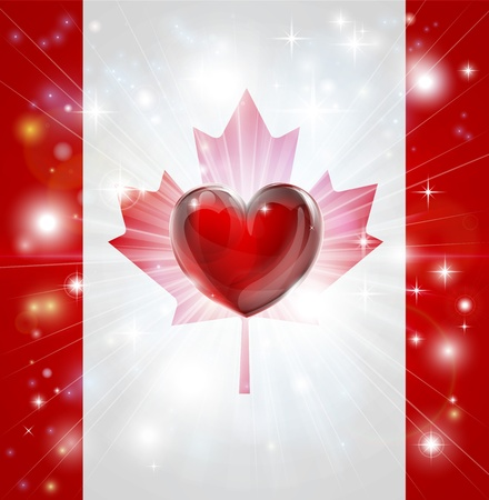 Flag of Canada patriotic background with pyrotechnic or light burst and love heart in the centre Vector