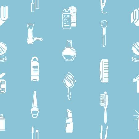 make up brush: Una repetici�n de cosm�ticos de fondo sin fisuras textura con una gran cantidad de dibujos de diversos cosm�ticos y productos de belleza