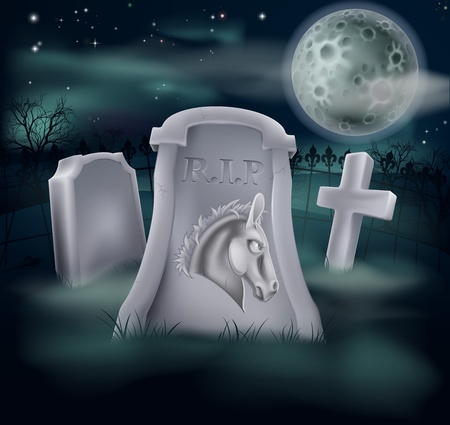 churchyard: Death of Democrat Party concept of tombstone with Democrat symbol of Donkey on a grave marker (Republican version also available)