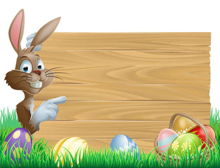 Easter bunny character pointing at a blank sign with space for text. Surrounded by painted chocolate eggs Vector